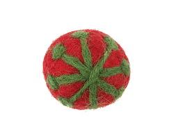 Leaf Green Snowflake on Ruby Felt Round 30mm