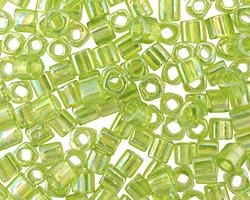 TOHO Transparent Rainbow Lime Green Cube 4mm Seed Bead