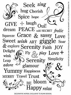 Nunn Design Decorative Words Transfer Sheet