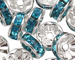 Silver (plated) Aqua Rhinestone Rondelle 8mm