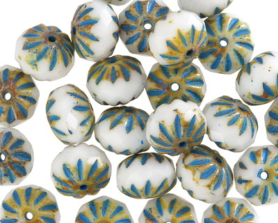 Czech Glass White Picasso w/ Turquoise Cruller 7x10mm