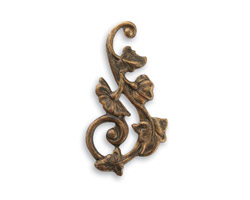 Vintaj Natural Brass Deco Vines Swirling Left 27x15mm