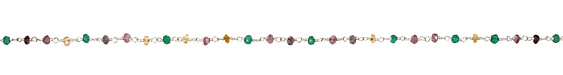 Multi Stone (amethyst, citrine, emerald, iolite) Faceted Rondelle Silver (plated) Bead Chain