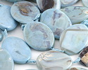 Arctic (light) Terra Agate Twisted Oval 40x30mm