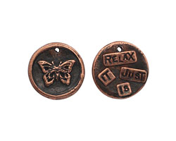 "The Lipstick Ranch Antique Copper (plated) Pewter ""Relax It Just Is"" Butterfly Wax Seal Charm 20mm"