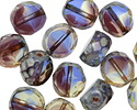 Czech Glass Blueberry Muffin Picasso 2-Way Faceted Round Nugget 12mm