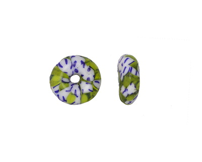 African Recycled Glass & Seed Bead Green, Blue & White Donut 4-6x13-15mm