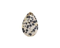 Dalmatian Jasper (matte) Flat Teardrop Pendant 20x30mm