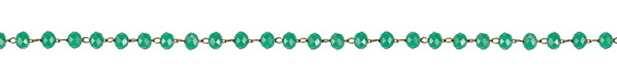 Gold (plated) Stainless Steel Green Turquoise Crystal 4mm Bead Chain