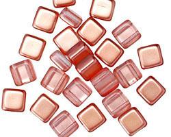 Czech Glass Peach Bellini 2-Hole Tile 6mm