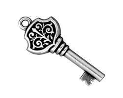 TierraCast Antique Silver (plated) Victorian Key Pendant 15x36mm