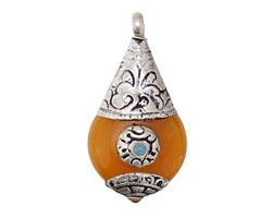 Tibetan Resin Amber & White Brass w/ Turquoise Stone Flat Teardrop Pendant 21x42mm