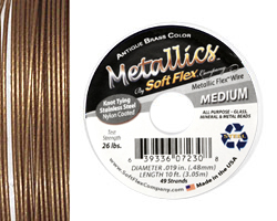 """Soft Flex Antique Brass .019"""" (Medium) 49 Strand Wire 10ft."""