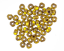 Czech Glass Chartreuse Picasso Trica Beads 3x4mm