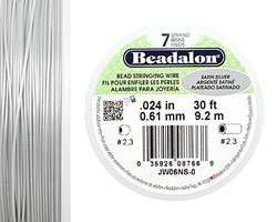 "Beadalon Satin Silver .024"" 7 Strand Wire 30ft."