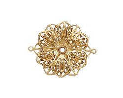 Brass Double Filigree Flower Link 26x21mm