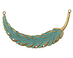 Zola Elements Patina Green Brass Feather Focal Link 88x34mm