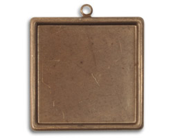 Vintaj Natural Brass Classic Square Bezel 30x33mm