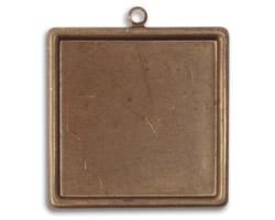 Vintaj Natural Brass Classic Square Bezel 30x33mm