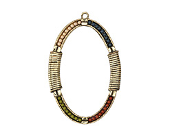 Zola Elements Antique Gold (plated) Beaded Bazaar Bound Open Oval Pendant 38x57mm