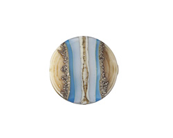 A Beaded Gift Silvered Aqua Layers Coin 18mm