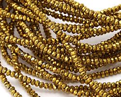 Antique Gold Crystal Faceted Rondelle 2mm