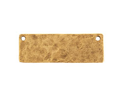 Nunn Design Antique Gold (plated) Hammered Flat Grande Horizontal Tag Link 37x12mm