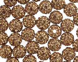 Smoked Topaz Pave (w/ Preciosa Crystals) Round 8mm