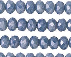 Czech Glass Blue Opal Luster Fire Polished Rondelle 6x8mm