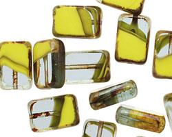 Czech Glass Chartreuse Quartz Rectangle 12x8mm