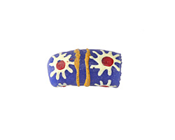 African Handpainted in White/Red Flower Burst on Blue Powder Glass (Krobo) Bead 17-18x10mm