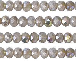 Czech Glass Opal AB Mercury Fire Polished Rondelle 5x7mm