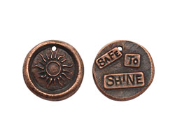 """The Lipstick Ranch Antique Copper (plated) Pewter """"Safe To Shine"""" Sun Wax Seal Charm 22mm"""