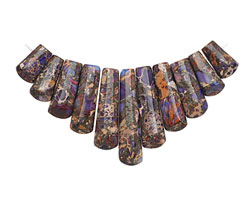 Purple Impression Jasper & Pyrite Ladder Pendant Set 15-38mm