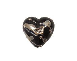 Grace Lampwork Elegant Black Metallic Heart 19-20mm