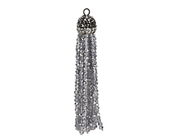 Silver & Clear Crystal Tassel w/ Hematite & Clear Crystal Pave Cap 75mm