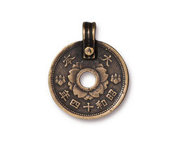 TierraCast Antique Brass (plated) Asian Coin Pendant 21x26mm