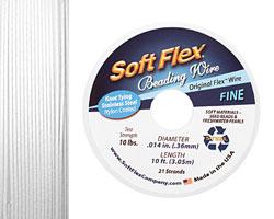 """Soft Flex White Quartz .014"""" (Fine) 21 Strand Wire 10ft."""