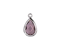 Lavender Crystal in Silver (plated) Textured Teardrop Bezel 10x17mm