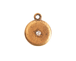 Nunn Design Antique Gold (plated) Small Disk Crystal Charm 13x16mm