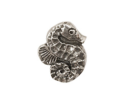 Green Girl Pewter Seahorse Button 18x23mm