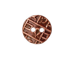 TierraCast Antique Copper (plated) Round Coin Button 18mm