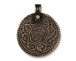 TierraCast Antique Brass (plated) Eightfold Path Pendant 26x32mm