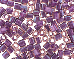 TOHO Rainbow Rosaline (with Opaque Purple Lining) Cube 4mm Seed Bead