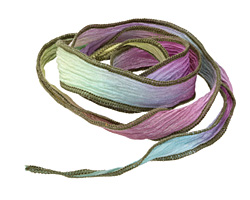 Prism Break w/Olive Brown Edges Hand Dyed 100% Silk Ribbon 1/2""
