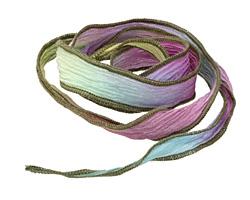 "Prism Break w/Olive Brown Edges Hand Dyed 100% Silk Ribbon 1/2"""
