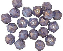 Czech Glass Luster Blue Lavender English Cut Bead 6x8mm