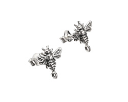 Nina Designs Sterling Silver Bumble Bee w/ Loops Post Earring w/ Back 11x12.5mm