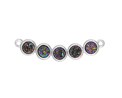 Metallic Peacock Druzy 5-Stone Focal Link in Silver Finish Bezel 34x6mm