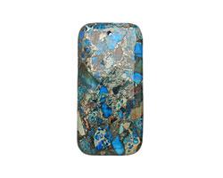 Midnight Blue Impression Jasper & Pyrite Rectangle Pendant 30x60mm
